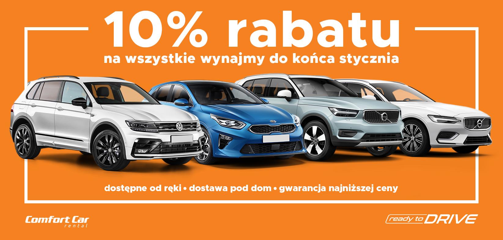 Wypożycz samochód 10% taniej do końca stycznia